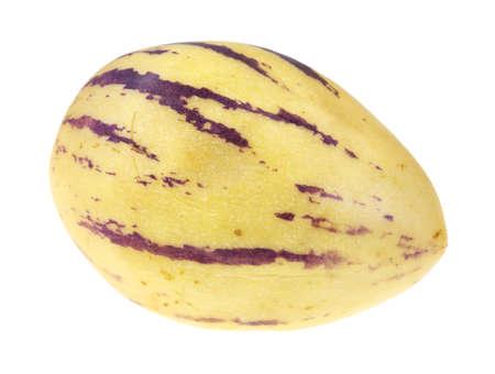 pepino: A single ripe pepino melon with stripes on a white background