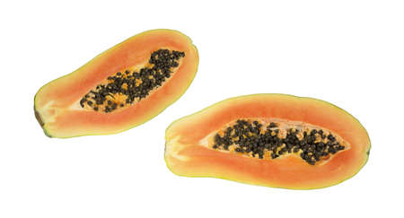 A red maradol papaya that has been cut in half showing both sides with seeds on a white background