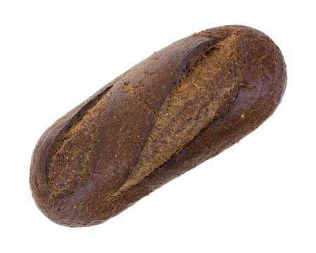 Bovenaanzicht van een vers gebakken brood van bruin brood op een witte achtergrond