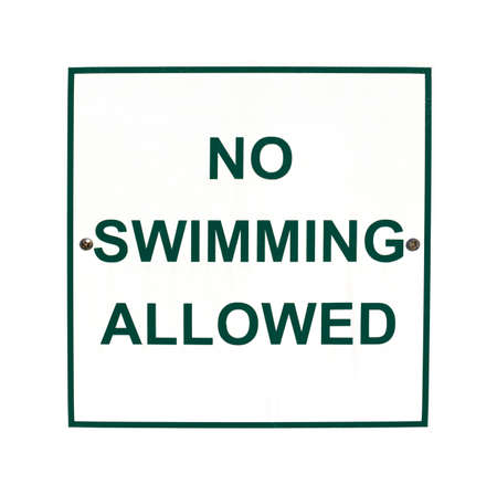 no swimming: A No Swimming Allowed sign on a white background  Stock Photo