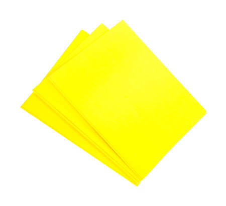 Three bright yellow folders for school and business on a white background  Zdjęcie Seryjne