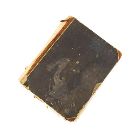 yellowed: An antique scrapbook with a stained and torn cover and yellowed pages on a white background