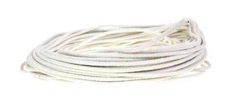 A clothesline in a coil on a white background