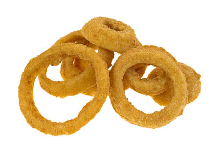 Several frozen onion rings on a white background