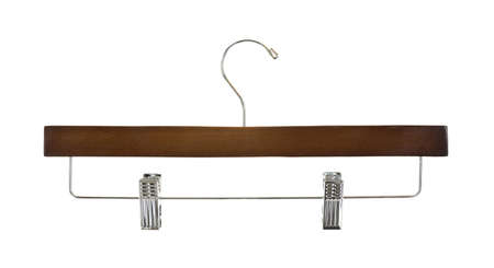 trouser: A new trouser hanger with metal clips on a white background
