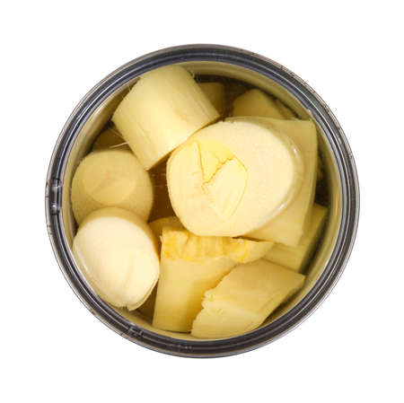 Top view of a can of processed hearts of palm on a white background Stock Photo - 16811367