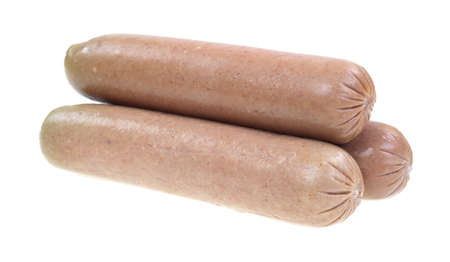 Three bologna sausages on a white background