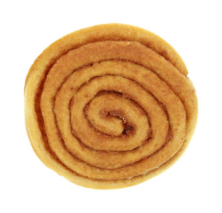 Top view of the swirl of a small cinnamon bun on a white background  Stock Photo - 17094065