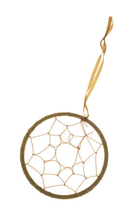 A plain dream catcher with hoop, web and string on a white background  photo