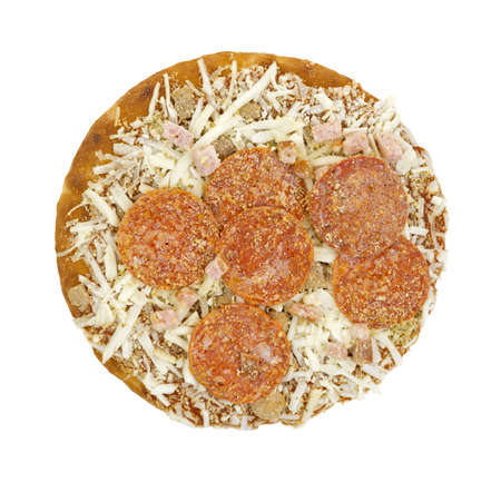 Top view of a frozen thick crust pepperoni ham and sausage pizza on a white background  photo