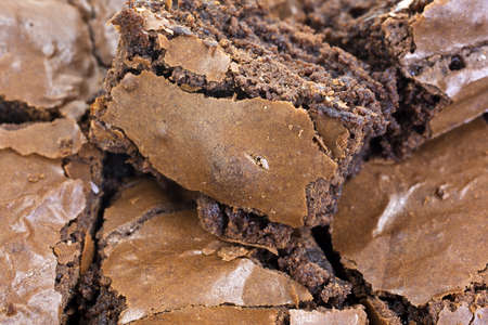 A very close view of several home baked chocolate brownies