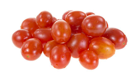 Several grape tomatoes on a white background