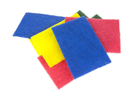 A group of new scouring pads on a white background