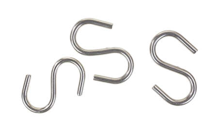 Several individual S-hooks on a white background