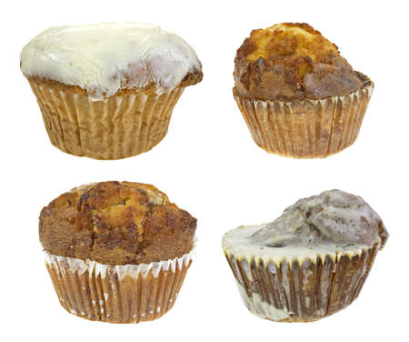 An iced chocolate chip muffin, french toast muffin, butter rum muffin and iced pumpkin spice muffin on a white background  photo