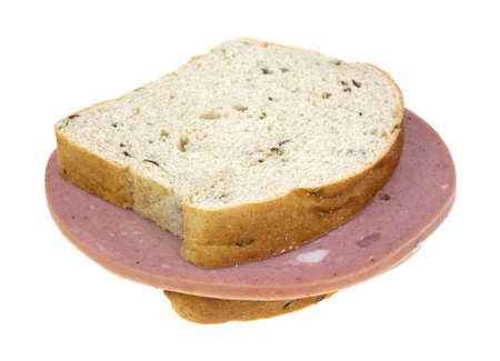 Two slices of mortadella luncheon meat on seeded rye bread.