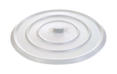 pliable: A rubber sink stopper to hold water in a wash basin on a white background.