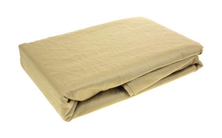 thread count: New 600 thread count taupe pillow cases on a white background. Stock Photo