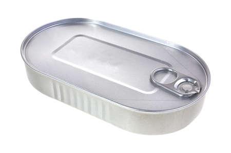 A tin of food on a white background. 版權商用圖片