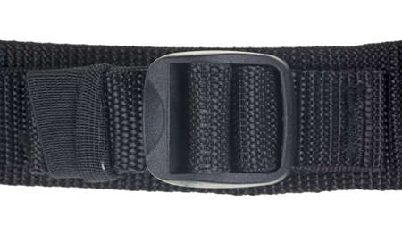 Close view of black nylon webbing with a plastic tightener on a white background.