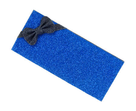 A blue gift box with glitter and a black bow on a white background.