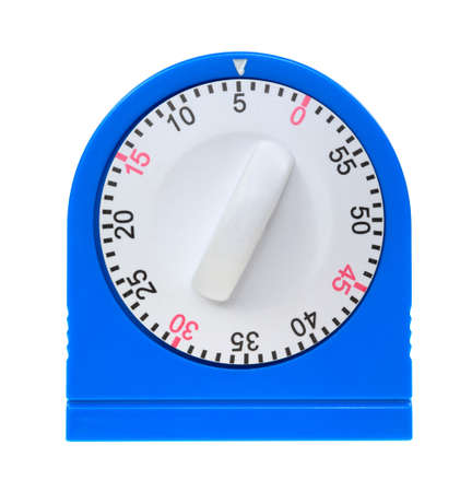 The front of a blue kitchen timer showing the white dial and numbers on a white background