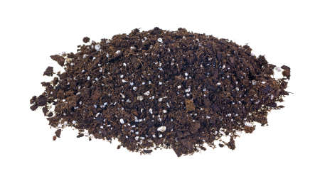 castings: A large portion of organic potting soil on a white background
