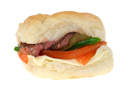 A small rare roast beef on bulky roll sandwich with tomatoes, peppers and cheese on a white background. photo