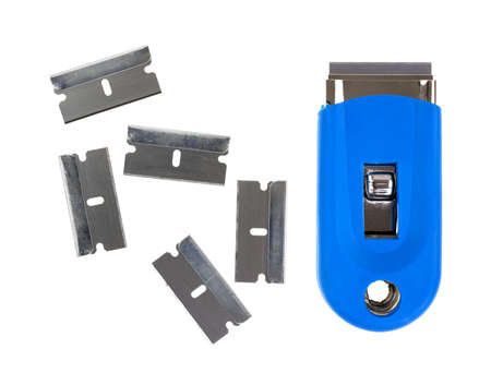 Four razor blades and a blue handled scraper on a white background. Stock Photo - 22103335