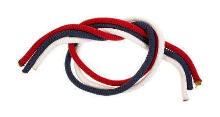 Three strands of red white and blue rope tied in a loose knot on a white background  Stock Photo