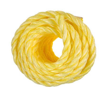 Top view of a coil of yellow rope on a white background.
