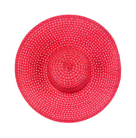 Top view of a new large brimmed red straw ladies hat