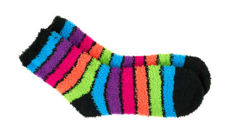 stretchy: A pair of bright and colorful thick fleece socks on a white background