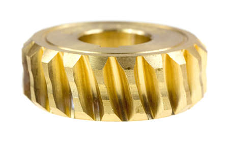 A new brass worm gear on a white background