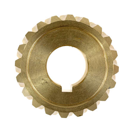 worm gear: Top view of a new brass worm gear with a keyhole on a white background