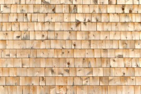 cedar shakes: An exterior wall of wood cedar shingles