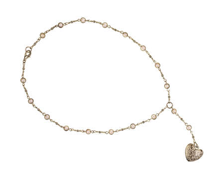 A silver heart shaped pendant attached to a silver chain with imitation pearls on a white background