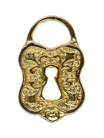 An ornate small toy lock on a white background