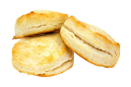Three freshly baked buttermilk biscuits on a white background  photo