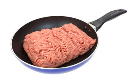 Fresh ground turkey meat in a small skillet on a white background