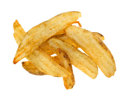 Baked potato wedges on a white background