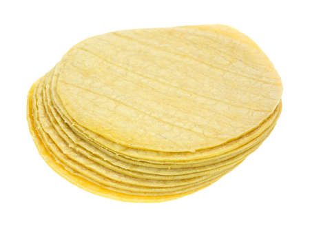 tortillas: Several corn tortillas in a stack on a white background. Stock Photo