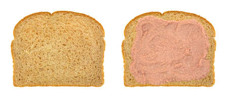 Top view of an opened faced potted meat sandwich on whole wheat bread atop a white background