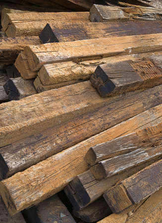 creosote: A large pile of used railroad ties left to rot outdoors