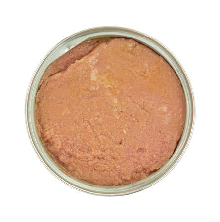 Top view of a tin can of potted meat on a white background.