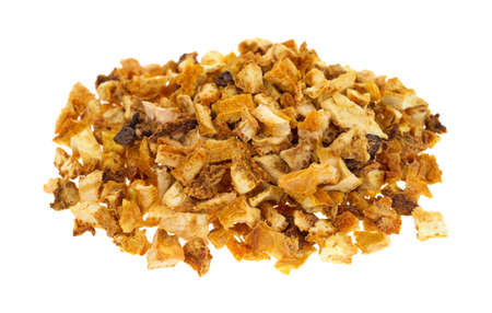 orange peel skin: A portion of dehydrated orange peel rind on a white background.