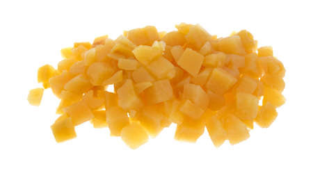cubed: A serving of cubed cooked rutabagas on a white background.