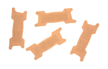 bendable: A group of adhesive nasal strips on a white background.