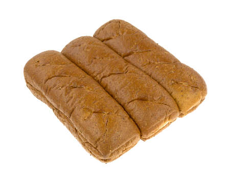 multi grain sandwich: A group of freshly baked whole wheat sub rolls on a white background.