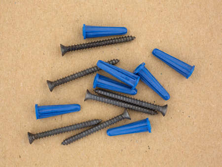 fastening objects: A group of screws with plastic anchors for fastening light objects. Stock Photo